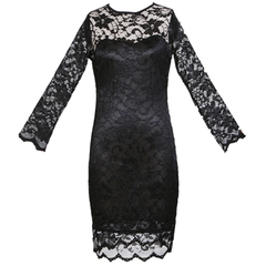 Women's Slim Fit 3/4-Sleeved O-Neck Lace Dress - BoardwalkBuy - 5