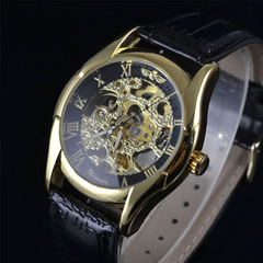 Winner Luxury Mechanical Skeleton Watch With Leather Band - Assorted Colors - BoardwalkBuy - 7