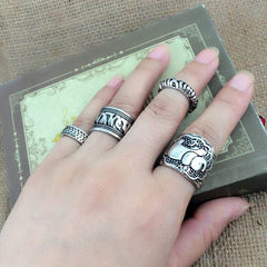 4pcs/Set Carved Antique Silver Elephant Totem Leaf Ring - BoardwalkBuy - 3