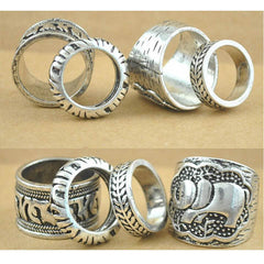 4pcs/Set Carved Antique Silver Elephant Totem Leaf Ring - BoardwalkBuy - 2