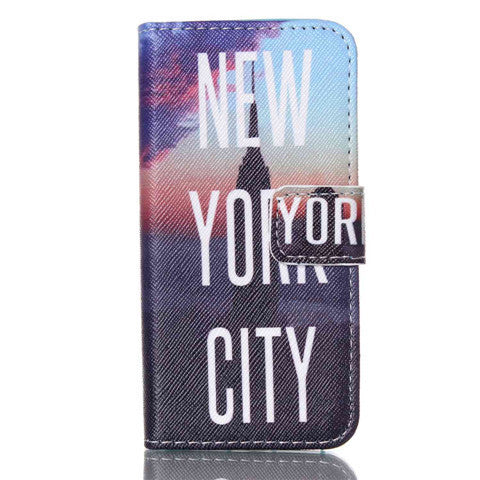 New York Stand Leather Case For Iphone 5S
