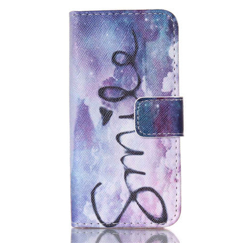 Purple Smile Stand Leather Case For iPhone 5s