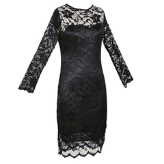 Women's Slim Fit 3/4-Sleeved O-Neck Lace Dress - BoardwalkBuy - 4