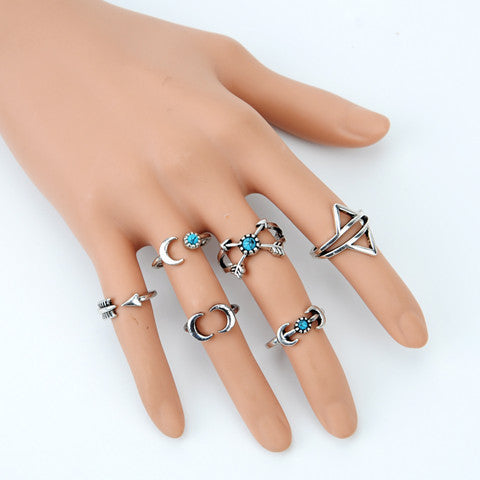 6Pcs Vintage Beach Punk Moon Arrow Ring