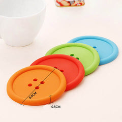 6Pcs/Lot Silicon Cute Colorful Button Coaster - BoardwalkBuy - 4