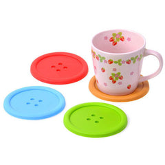 6Pcs/Lot Silicon Cute Colorful Button Coaster - BoardwalkBuy - 1