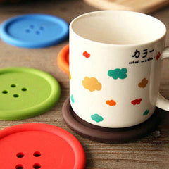 6Pcs/Lot Silicon Cute Colorful Button Coaster - BoardwalkBuy - 3
