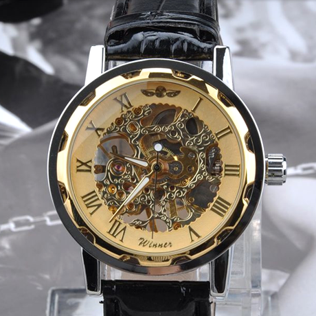 Winner Luxury Mechanical Skeleton Watch With Leather Band - Assorted Colors