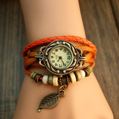 Leaf Boho-Chic Vintage-Inspired Handmade Watch - Assorted Colors - BoardwalkBuy - 1