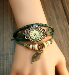 Leaf Boho-Chic Vintage-Inspired Handmade Watch - Assorted Colors - BoardwalkBuy - 5