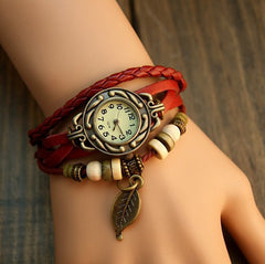 Leaf Boho-Chic Vintage-Inspired Handmade Watch - Assorted Colors - BoardwalkBuy - 4