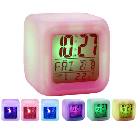7 LED Colour Changing Digital LCD Alarm Clock - BoardwalkBuy - 1