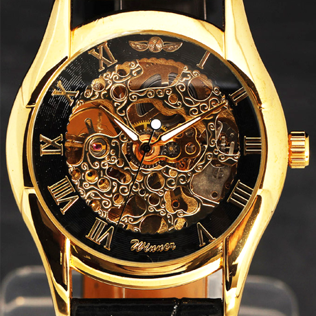 Winner Black and Gold Skeleton Hand-Winding Mechanical Watch