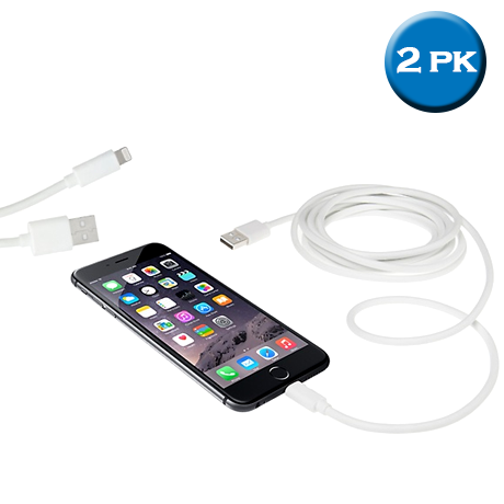 Two 10-Foot Cables for iPhone 4/5/6 and Android