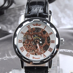 Winner Luxury Mechanical Skeleton Watch With Leather Band - Assorted Colors - BoardwalkBuy - 5