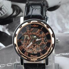 Winner Luxury Mechanical Skeleton Watch With Leather Band - Assorted Colors - BoardwalkBuy - 4