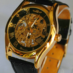 Winner Black and Gold Skeleton Hand-Winding Mechanical Watch - BoardwalkBuy - 2