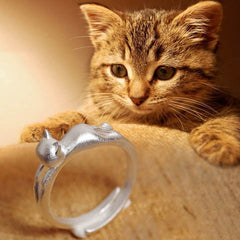 Silver Cat Opening Ring