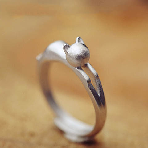 Silver Cat  Head Opening Ring
