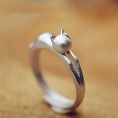 Silver Cat  Head Opening Ring - BoardwalkBuy - 1