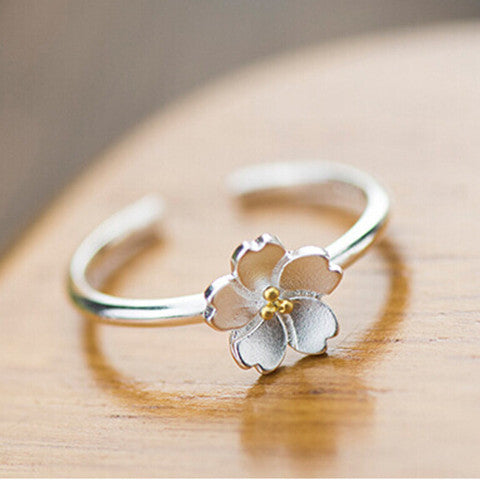 925 Silver Cherry Blossm Ring - BoardwalkBuy - 1