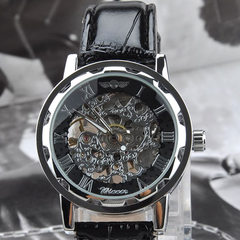Winner Luxury Mechanical Skeleton Watch With Leather Band - Assorted Colors - BoardwalkBuy - 3
