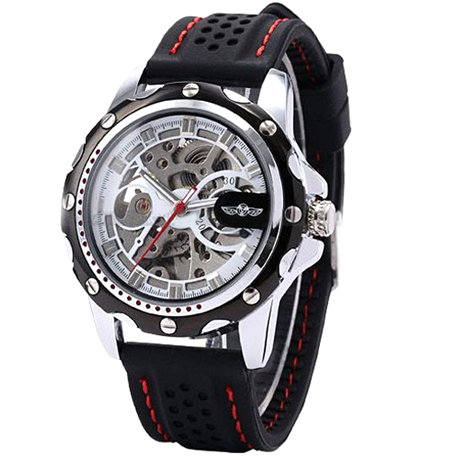 Winner Black Rubber Band Automatic Mechanical Skeleton Watch