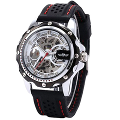 Winner Black Rubber Band Automatic Mechanical Skeleton Watch - BoardwalkBuy - 1