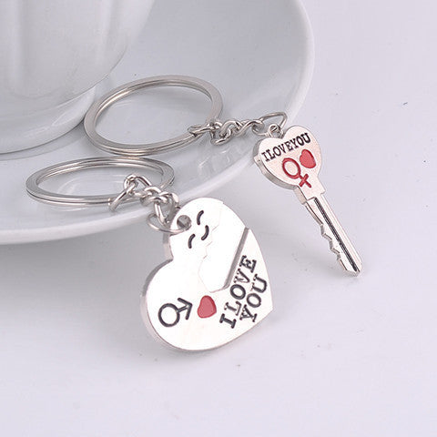 Silver Lovers Heart Key Chain