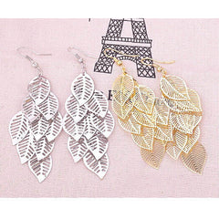 Alloy Silver and Gold Leaf Earrings - BoardwalkBuy - 2