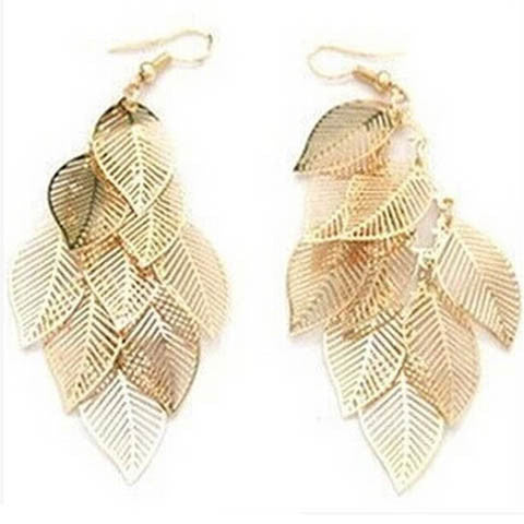 Alloy Silver And Gold Leaf Earrings