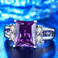 Amethyst CZ Diamond Ring - BoardwalkBuy - 2