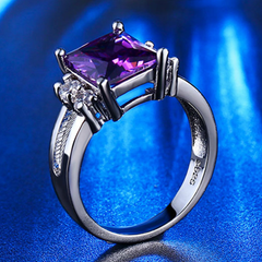 Amethyst CZ Diamond Ring - BoardwalkBuy - 4