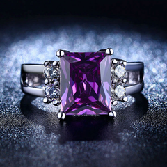 Amethyst CZ Diamond Ring - BoardwalkBuy - 5