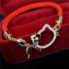 Lucky Red Rope Kitty Cat Fish Crystal Bracelet