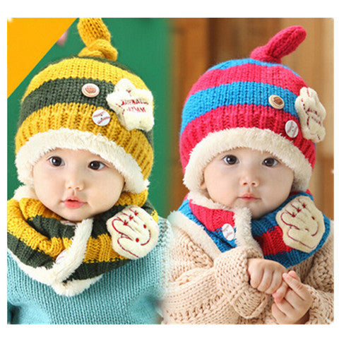 Baseball Art Children's Ear Hat + Scarf Two-piece