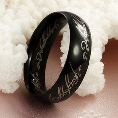 Black Stainless Steel Elf Inscribed Ring for Men - BoardwalkBuy - 2