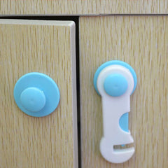 4pcs: Blue+White Drawer Cupboard Wardrobe Door Safety Lock - BoardwalkBuy - 2
