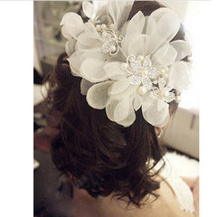 Bridal Wedding Flower Pearls Crystal Headband - BoardwalkBuy - 4