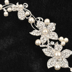 Bridal Wedding Flower Pearls Crystal Headband - BoardwalkBuy - 3