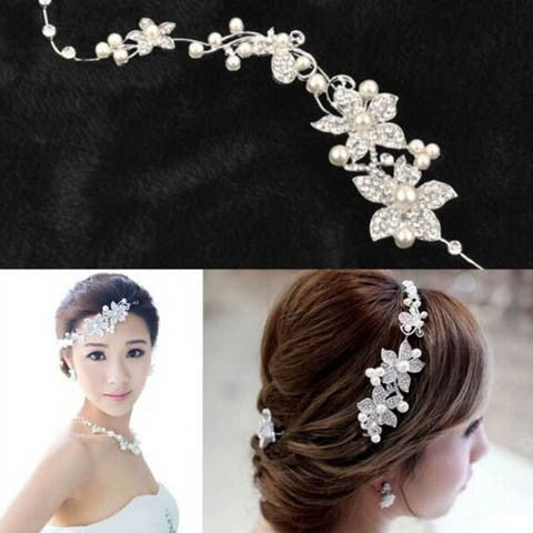 Bridal Wedding Flower Pearls Crystal Headband
