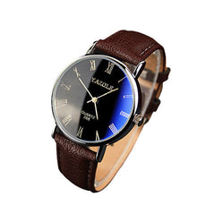 Brown Faux Leather Band Men Watch - BoardwalkBuy - 1