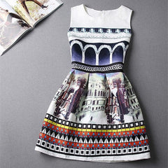 Castle Print Dress - BoardwalkBuy - 1