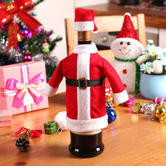 Christmas Santa Clause Clothing Hat Dress Wine Bottle Cover - BoardwalkBuy - 1
