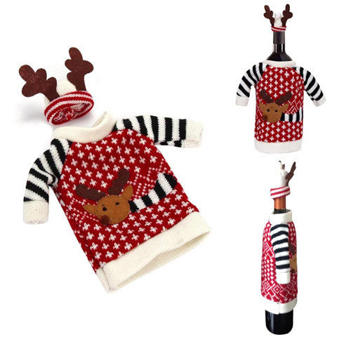 Christmas Decoration Red Wine Bottle Cover