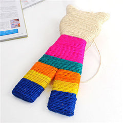 Colorful Sisal Flat Cat Shaped Scratcher  Toy Color Random