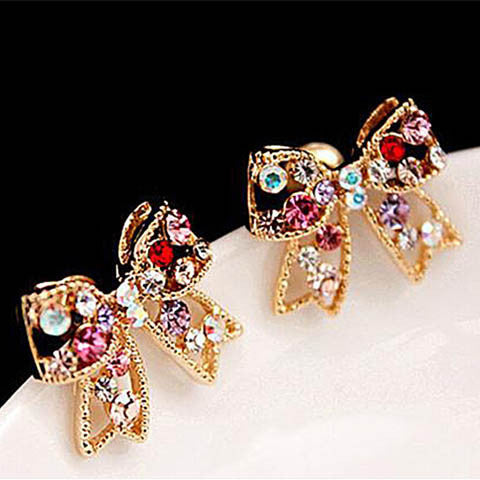 Colorful Crystal Gold Bowknot Bow Stud Earrings