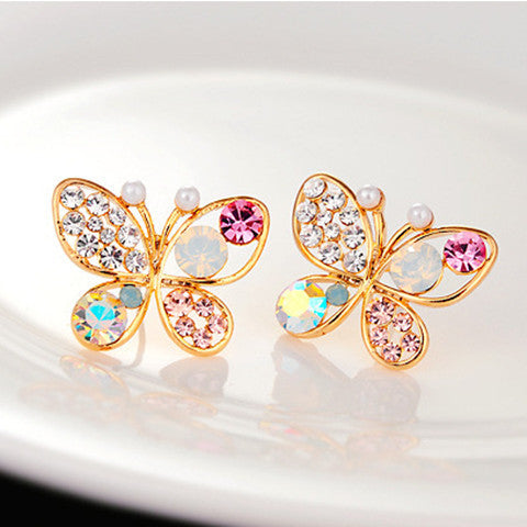 Colorful Crystal Simulated Pearl Butterfly Stud Earring