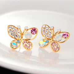 Colorful Crystal Simulated Pearl Butterfly Stud Earring - BoardwalkBuy - 1