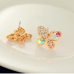 Colorful Crystal Simulated Pearl Butterfly Stud Earring - BoardwalkBuy - 2